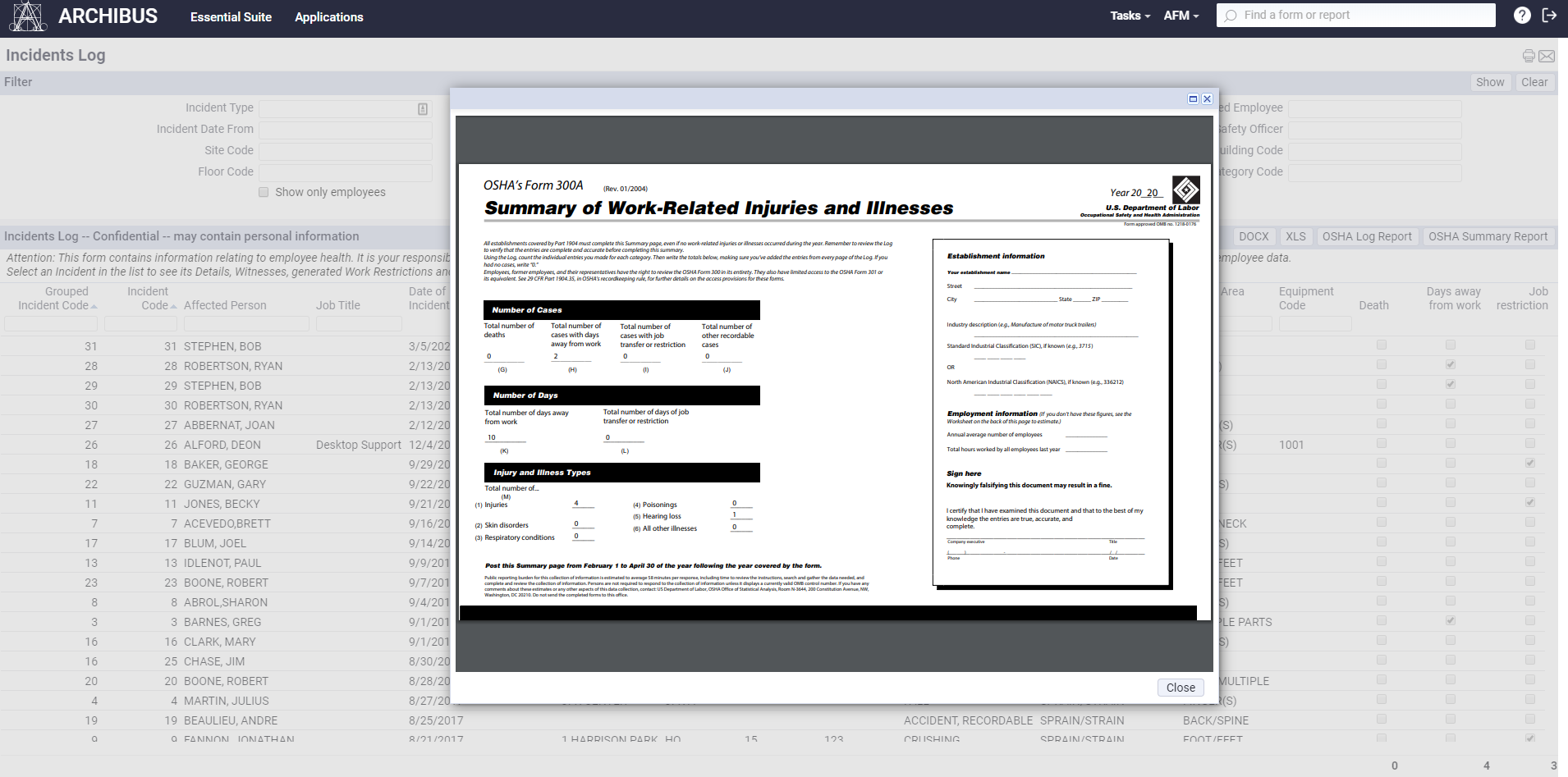 A screenshot of an automatically filled OSHA report in ARCHIBUS Environmental Health and Safety.