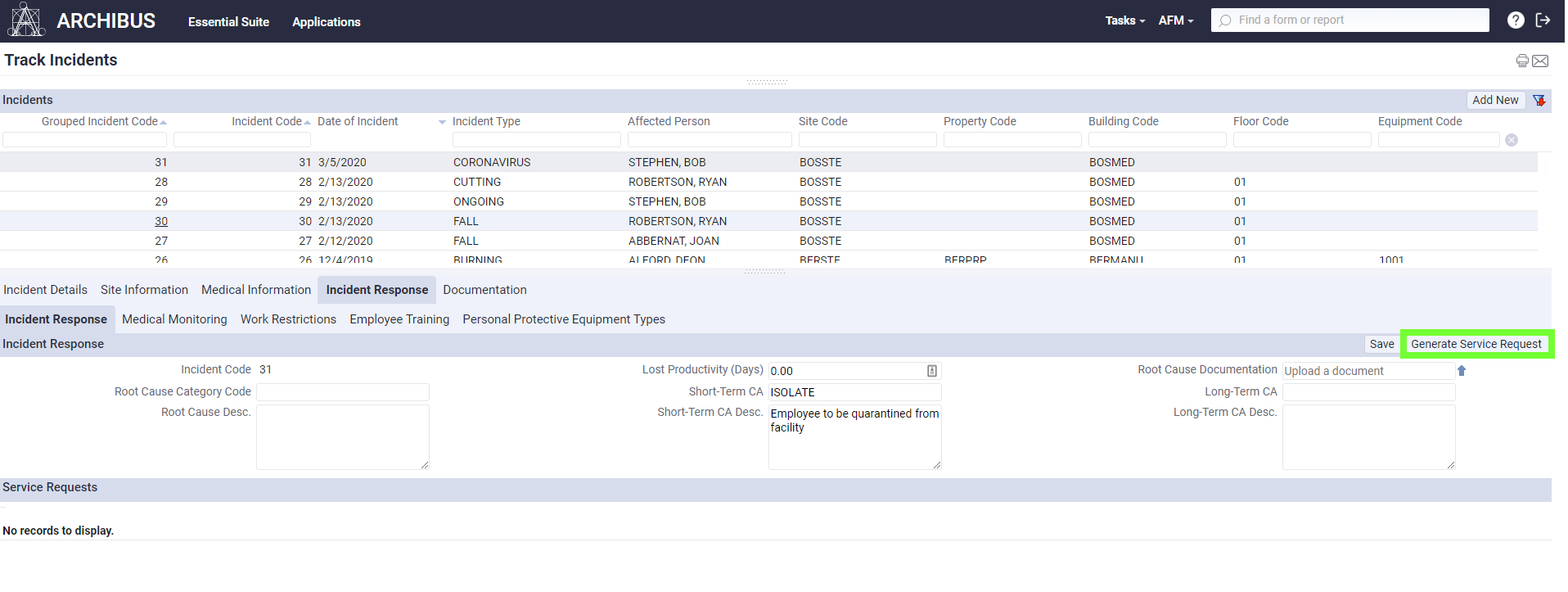 A screenshot of the Generate Service Request option in Incident Response in ARCHIBUS Environmental Health and Safety.