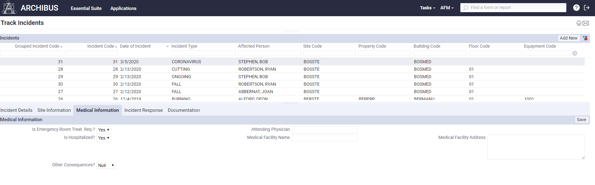 A screenshot of the Medical Information feature in ARCHIBUS Environmental Health and Safety.