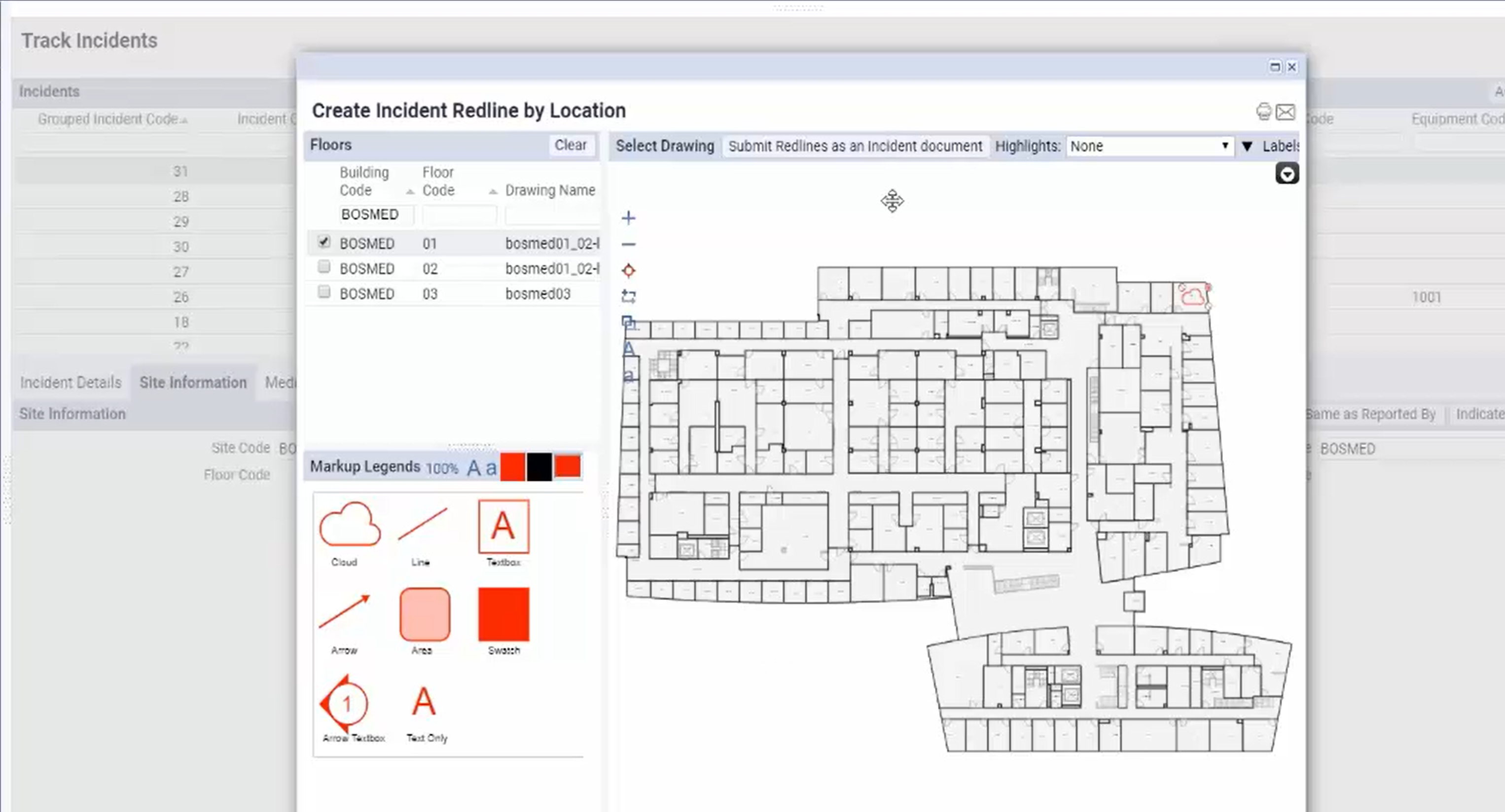 A screenshot of the redlining capabilities  in ARCHIBUS Environmental Health and Safety.