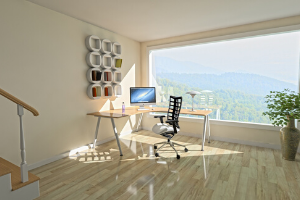 An image of a home office by a scenic window.