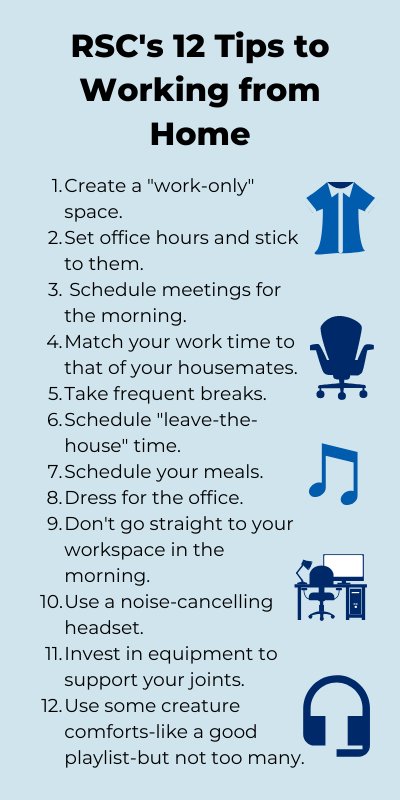 An infographic with RSC's twelve tips for working from home listed.