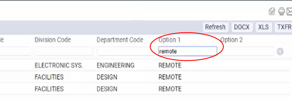 A screenshot of the Option 1 customizable field in the employees table in Archibus filtered for remote workers and circled in red.