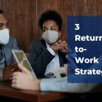 Image of three peole at a work meeting with masks and the words 3 return to work strategies in white